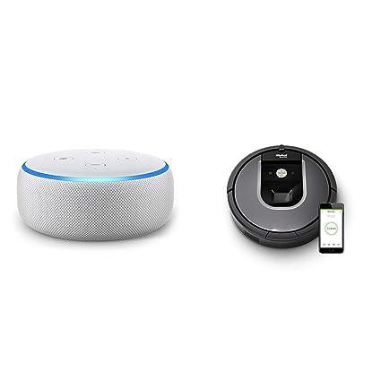 Echo Dot gris claro + iRobot Roomba 960 - Robot Aspirador Óptimo Mascotas, Succión 5 Veces Superior, ...