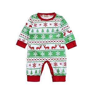 Xinantime - Ropa para mameluco de manga larga de Navidad para bebés 0-2 Años (6 Meses, Verde)