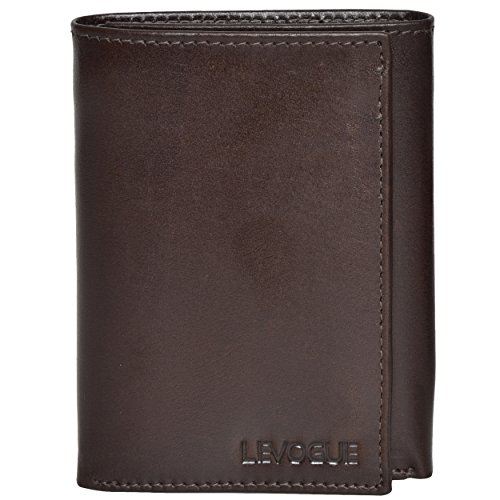 Genuine Leather Mens RFID Blocking Slim Trifold Wallet with 6 Cards+1 ID Window + 2 Note Compartments. (Brown Italian V.T.) ()