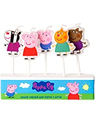 Peppa Pig Molded Pick Candle Set of 5 Birthday Party Supplies Cake Cupcake Topper Decoration