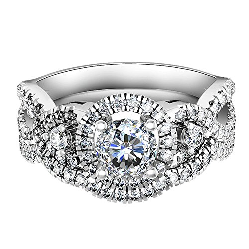 HSG 1 Catat Exquisite 925 Sterling Silver Round Cubic Zirconia CZ Bridal (Antique Eternity Wedding Ring)