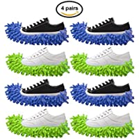 4 Pack Free Walker Microfiber Dusting Slippers for Bathroom,Office,Kitchen,House Cleaning