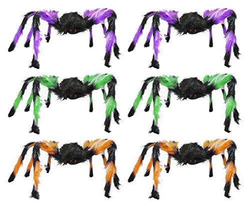 Video Costume Tarantula Dog (Set of 6 Halloween Large Hairy Spiders! Purple - Green - Orange! 24