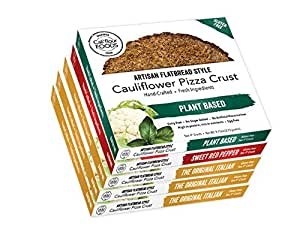 Cali'flour Foods Gluten Free, Low Carb Cauliflower Pizza Crusts - 6 Original Italian Crusts, 2 Sweet Red Pepper Crusts, and 2 Dairy Free Plant Based Crusts - 5 Boxes (10 Total Crusts, 2 Per Box)