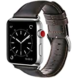 OUHENG Compatible with Apple Watch Band 38mm 40mm, Genuine Leather Band Replacement Compatible with Apple Watch Series 4 Series 3 Series 2 Series 1 (38mm 40mm) Sport and Edition, Dark Brown