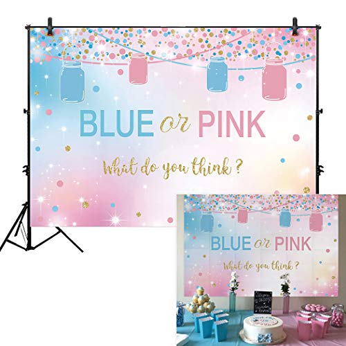 Allenjoy 5x3ft Blue and Pink Gender Reveal Backdrop Girl or Boy Pregnancy Announcement Surprise Party Supplies Ideas Mason Jars Banner Candy Dessert Table Decorations Backdrops]()