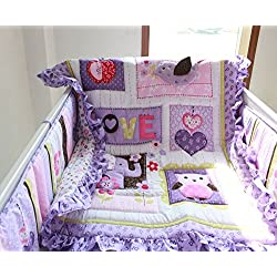 NAUGHTYBOSS Girl's Baby Bedding Set Elephant Owl Quilt Bumper Bed Skirt Fitted Blanket 8 Pieces Set Purple Color