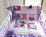 NAUGHTYBOSS Girl Baby Bedding Set Cotton 3D Embroidery Elephant Owl Quilt Bumper Bed Skirt Fitted Blanket 8 Pieces Set Purple Color