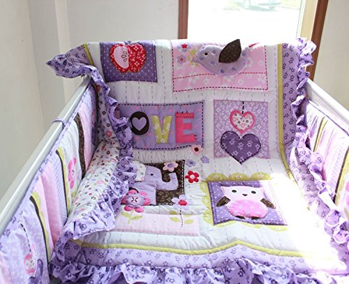 NAUGHTYBOSS Girl Baby Bedding Set Cotton 3D Embroidery Elephant Owl Quilt Bumper Bed Skirt Fitted Blanket 8 Pieces Set Purple Color by NAUGHTYBOSS