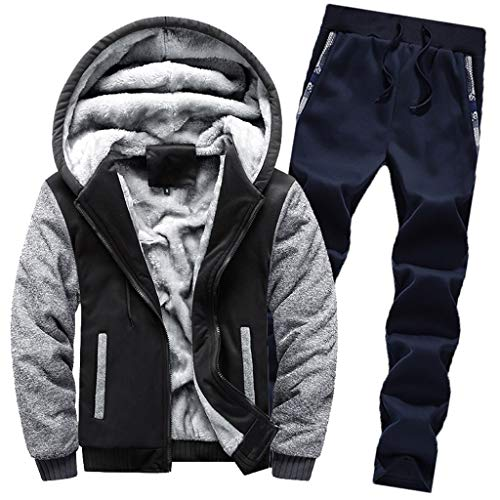 2pc Jacket Pants, Men's Winter Warm Hoodie Fleece Zipper Sweater Outwear Coat Top Pants Sets
