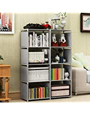 Multi-Function Book Shelf, Double Row 4-Tier Bookshelf Bookcase with 8-Cube Shelves, Simple Assembly Storage Organizer Shelf