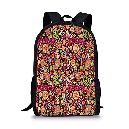 - School Bags 70s Party Decorations,Groovy Peace and Love Composition Mushrooms Flowers Joyful Vivid Decorative,Multicolor for Boys&Girls Mens Sport Daypack