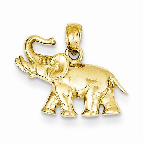 Solid 14k Yellow Gold Polished Elephant Charm Pendant (13mm Height x 17mm Width) - 14k Solid Gold Elephant Charm