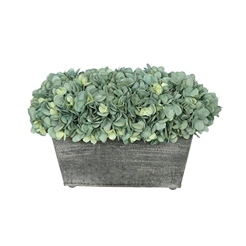 House of Silk Flowers Artificial Hydrangea in Galvanized Metal Rectangle (Teal) For Sale