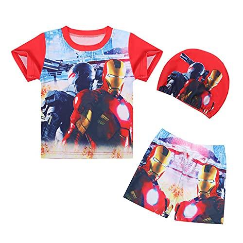 Cosplay Kinderen Iron Man Badpak Zwembroek Met Hoed Jongen Buiten Vakantie 3 Stuk Zwemmen Korte Kofferbak Cartoon Stuk…