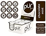 PUR 100% Xylitol Chewing Gum, Chocolate Mint, Sugar-Free + Aspartame Free, Vegan + non GMO, 9 Count (Pack of 12)