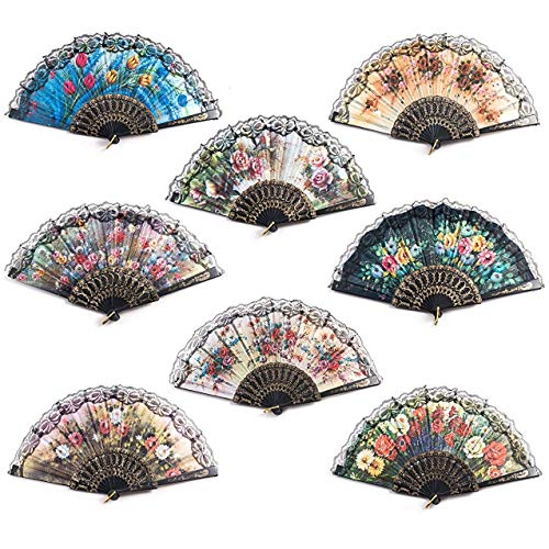 8 pcs Folding Fans, Handmade Fan Floral Flowers Pattern Lace Handheld Fans Random Color for Decoration Wedding Dancing Church Party Gifts]()