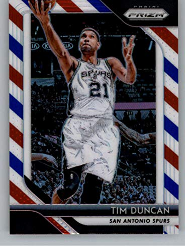 (2018-19 Prizm Red White and Blue Prizms Basketball #225 Tim Duncan San Antonio Spurs Official NBA Trading Card From Panini)