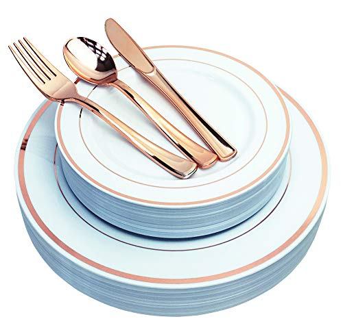 JL Prime 125 Piece Rose Gold Plastic Plates & Cutlery Set, Heavy Duty Disposable Plastic Plates with Rose Gold Rim & Silverware for Party & Wedding, Dinner & Salad Plates Forks Knives Spoons 25 Each