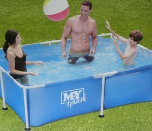 Piscina para niños de 2, 1 m. Estructura de metal jardín, piscina grande. Tamaño familiar, nado rectangular.: Amazon.es: Jardín