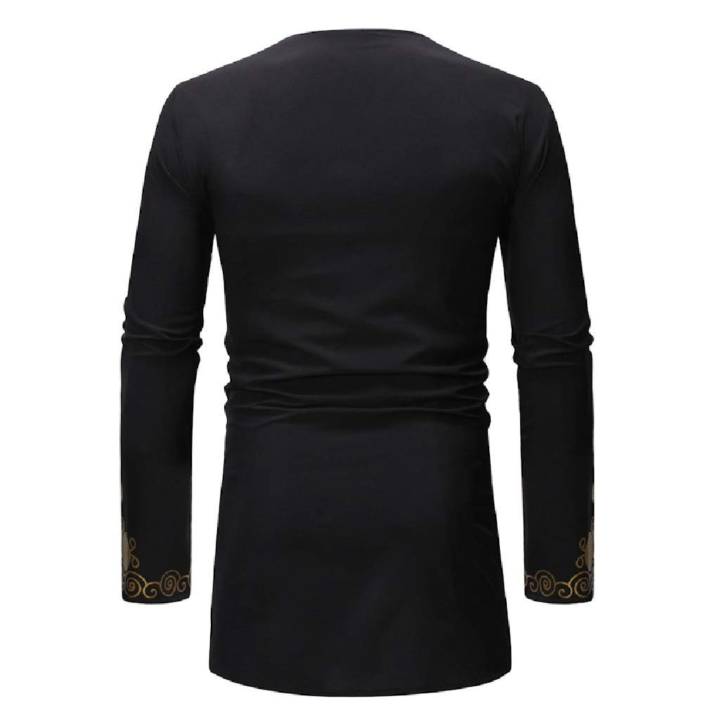 VITryst-Men Relaxed Mid Long Floral Printed African Long Sleeve Tees Top