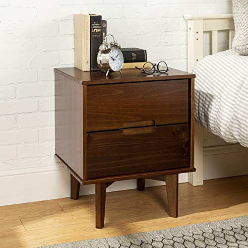 WE Furniture Wood Tall Nightstand for Bedroom Living Room, Walnut, 2 Drawer Accent Side End Table