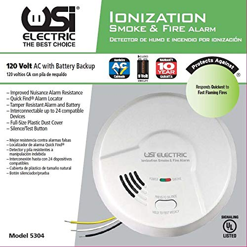 Universal Security Instruments Hardwired Ionization Smoke and Fire Alarm with Battery Backup, Model 5304