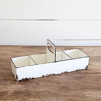 Tray with Handles White Distressed Enamel Farmhouse Decor