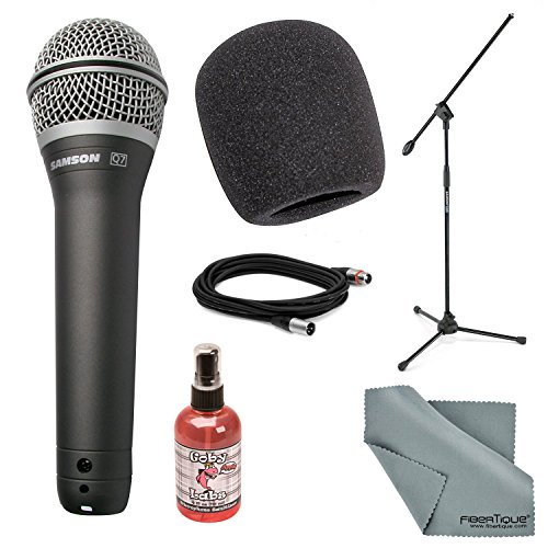 Samson Q7 Supercardioid Neodymium Handheld Microphone Deluxe Bundle with Ultra-Light Boom Stand + Mic Muff + XLR Cable + Microphone Sanitizer + Fibertique Cleaning Cloth ()