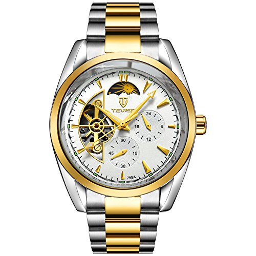 TEVISE Men's Fashion Casual Stainless Steel Automatic Wrist Watch White Dial Silver and Golden Band