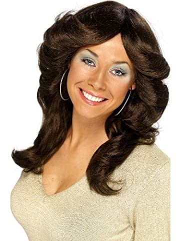 Smiffy's Women's Seventie Flick Wig One Size Brown
