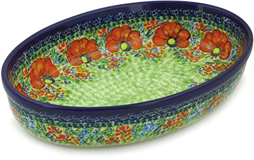 Polish Pottery Oval Baker 11-inch Garden Meadow UNIKAT ()