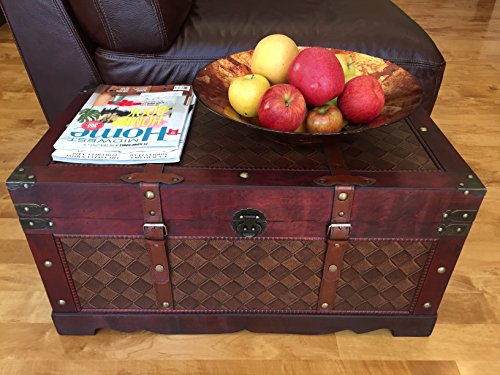 (Styled Shopping Brooklyn Park Medium Wood Storage Trunk Wooden Treasure Chest)