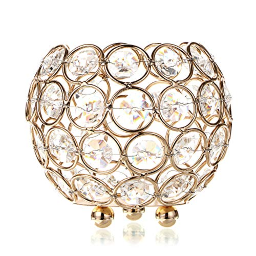 OwnMy Crystal Bowl Votive Candleholder Sparkly Tea Light Candle Holders Candle Lanterns Decorative Candelabra Vase for Christmas New Year Wedding Table Centerpieces (10CM Golden Tone) -