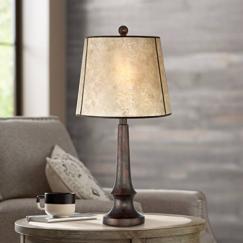 Naomi Rustic Table Lamp Aged Bronze Mica Drum Shade for Living Room Family Bedroom Bedside Nightstand Office - Franklin Iron Works (Lamps Clearance Rustic)