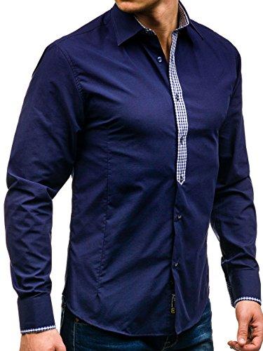 BOLF Hombres Camisa con mangas largas y collar decorativo Camisa del ocio Slim Fit Azul oscuro