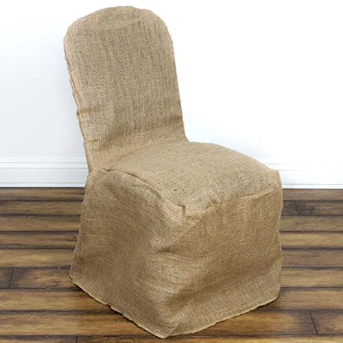 Efavormart Natural Jute Burlap Banquet Chair Cover Dinning Chair Slipcover for Wedding Party Event Banquet Catering by Efavormart.com (Image #1)