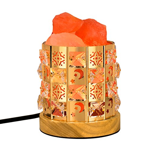 Decolighting HY-04 Salt Lamp, Himalayan Salt Lamp Natural Salt Crystal Chunks in Acrylic Diamond Cylinder with Wooden Base, Rotary Switch Adjusts Brightness, Dimmable Control, 2 Bulbs, UL-Listed Cord