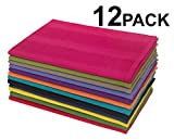 Crate and Barrel Kitchen Cotton Craft 12 Pack Multicolor Kitchen Towels 16x28 Inches- Pure Cotton, Absorbent Waffle Weave