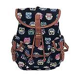 Women Vintage Canvas Bag National Wind Backpack Travel Bag School Bag