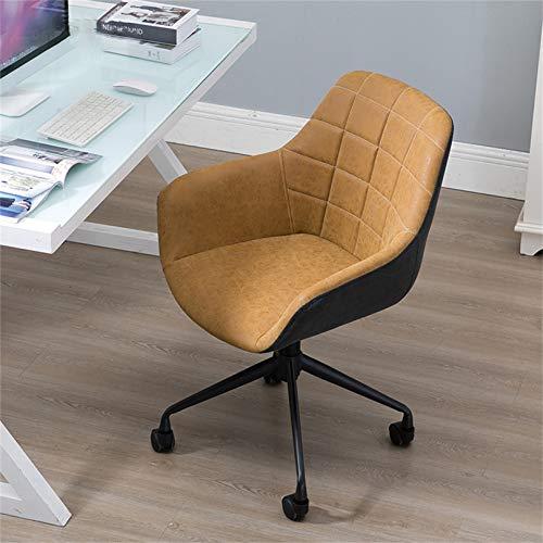 Kontorsstol, skrivbordsstolar med hjul, justerbar svängbar rullning, vridbar och gungande uppgift stol med stark skärmtyp ländrygg stöd