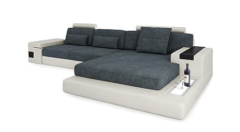 Ecksofa l form leder  Design Sofa Couch Leder Wohnlandschaft + Stoff Ecksofa L-Form mit ...