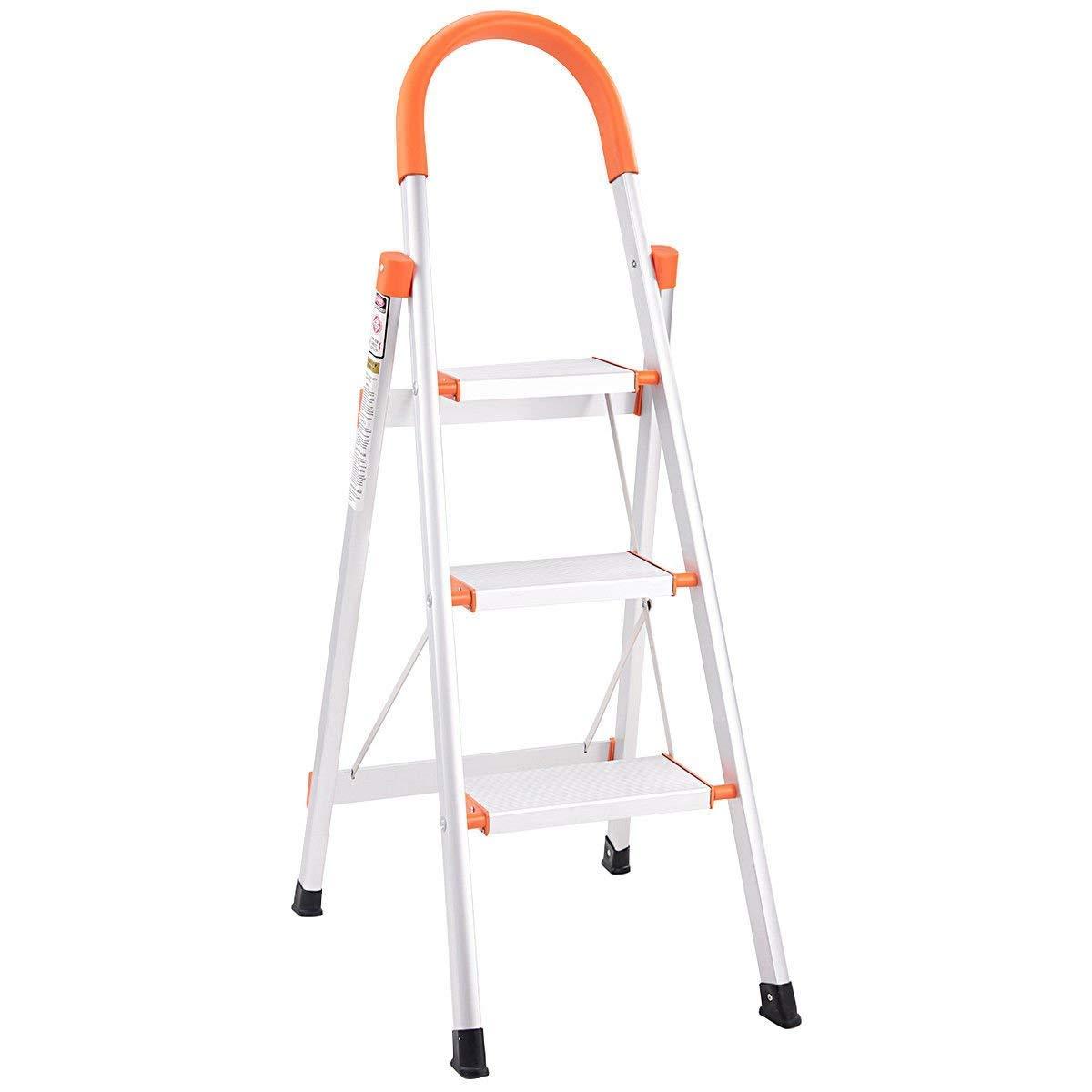 Giantex 3 Step Ladder Folding Stepladder Rating 3-Foot Ladder Aluminum Step Stool Ladder Folding Platform Stool 330 lbs Load Capacity Lightweight Multi-Use Ladder w/Anti-Slip Handgrip and Wide Pedal