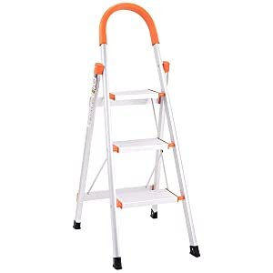 Giantex 3 Step Ladder Folding Stepladder Rating 3-Foot Ladder Aluminum Step Stool Ladder Folding Platform Stool 330 lbs Load Capacity Lightweight Multi-Use Ladder w/Anti-Slip Handgrip and Wide Pedal