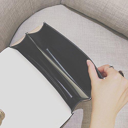 Personalidad Cerradura Pequeño Paquete Cuadrado Europa Y Los Estados Unidos Moda Pequeño Paquete Cuadrado Bolso De La Cadena Hombro Bolso Del Mensajero Black