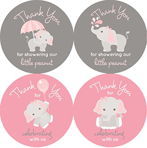 2 inch Thank You Stickers Gray Elephant Set of 60 (Light Pink) ()