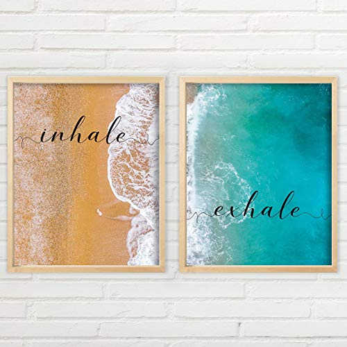 Inhale Exhale Wall Art - Beach Aerial View | Unframed Prints - Multiple Sizes | Aerial Beach Wall Art | Typography Art | Minimalist Wall Art | Great Gift | Yoga Wall Set Art Set of 2