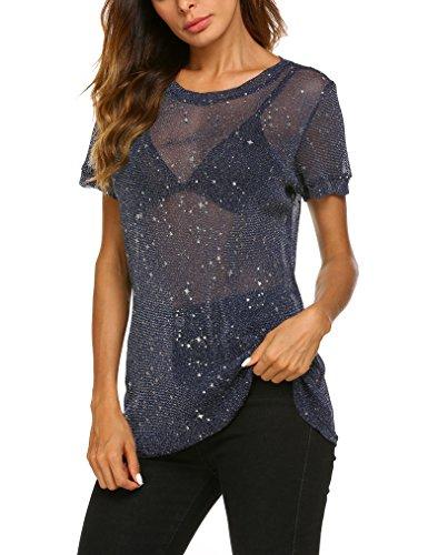 Qearal Sexy Clubwear Mesh Sheer See Through Tops Shirts Blouse Women Short Sleeve XL Blue (Glitter Print Top)