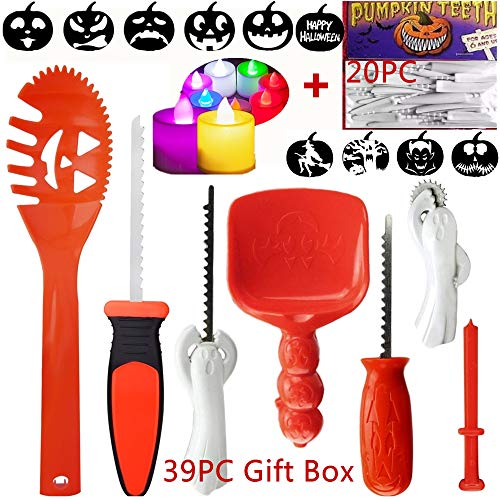 7PC Pumpkin Carving kit 20 Pumpkin teeth 2 LED Pumpkin Lights 10 Carving Stencils, Easy Pumpkin Carving tools set For Kids and Adults 39 PCS]()