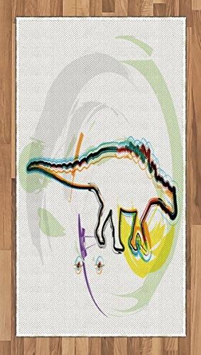 Cheap  Lunarable Dinosaur Area Rug, Tyrannosaurus Colorful Artistic Design Silhouette Looking for Food..